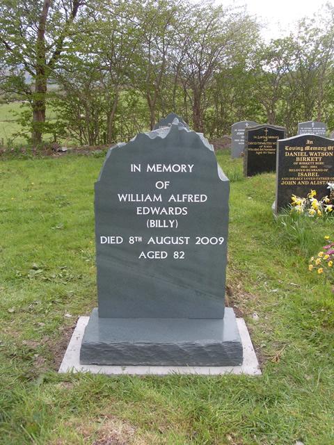 Natural edge slate grave stone
