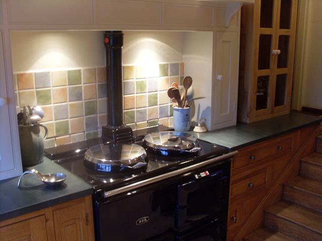 Slate worktop cooker unit